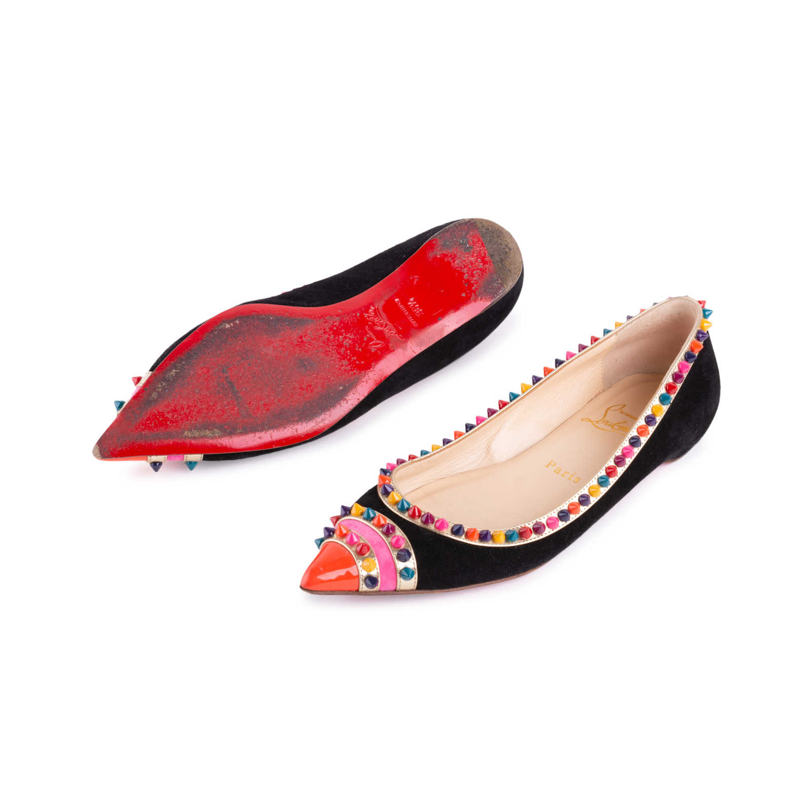 683930ccdc2 ... Authentic Second Hand Christian Louboutin Malabar Spike Flats  (PSS-607-00003) ...