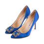 Authentic Second Hand Manolo Blahnik Blue Hangisi Pumps (PSS-607-00009) - Thumbnail 3