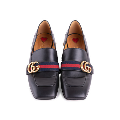 Authentic Second Hand Gucci Peyton Pearl-Embellished Heel Loafers (PSS-607-00012)