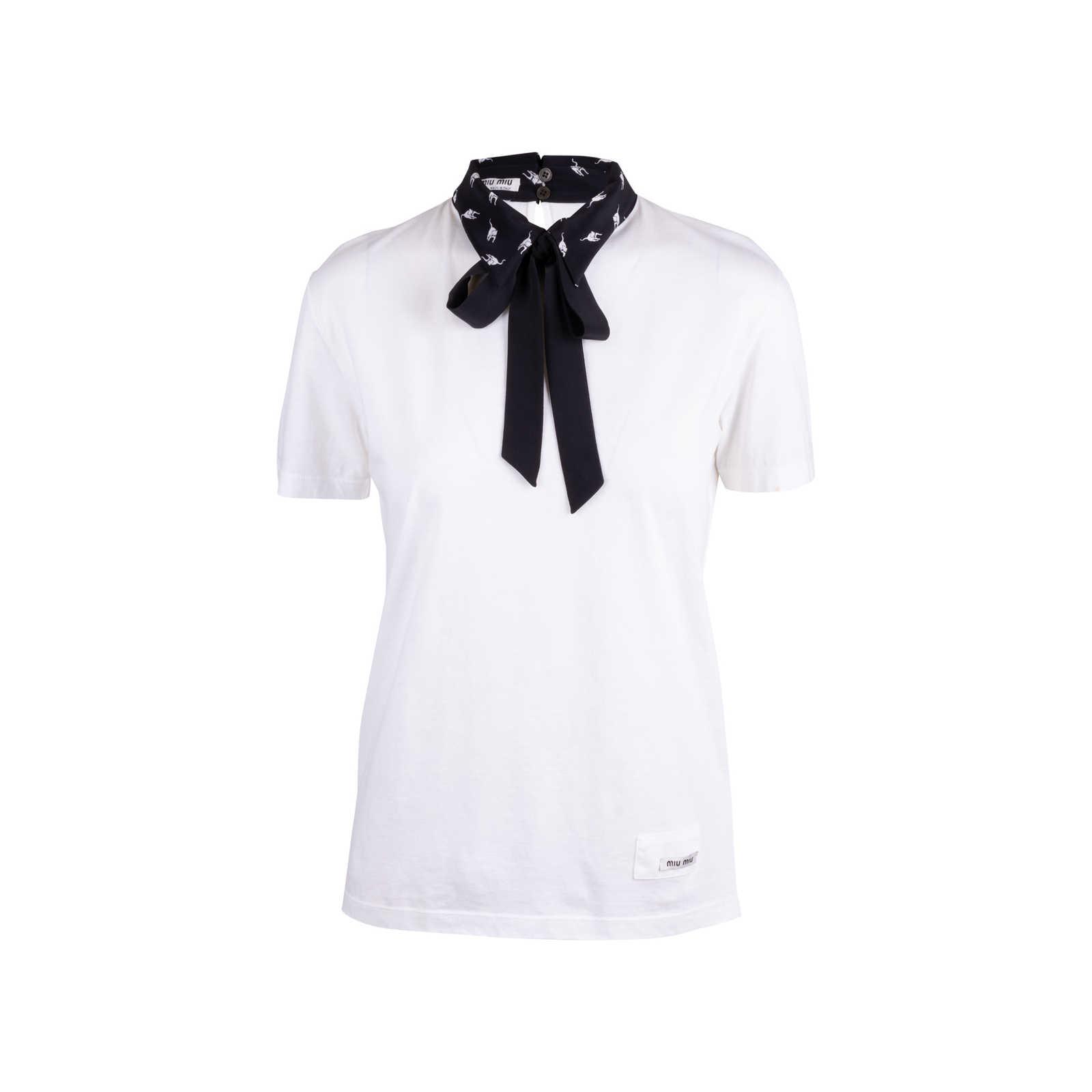 75b5ebddc6320 Authentic Second Hand Miu Miu Cat Collar T-Shirt (PSS-610-00013 ...