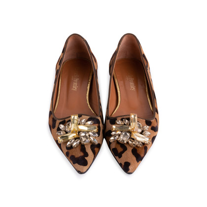 Authentic Second Hand Russell & Bromley Embellished Leopard Print Pointed Pumps (PSS-247-00098)