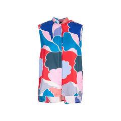 Multicoloured Mandarin Collar Blouse