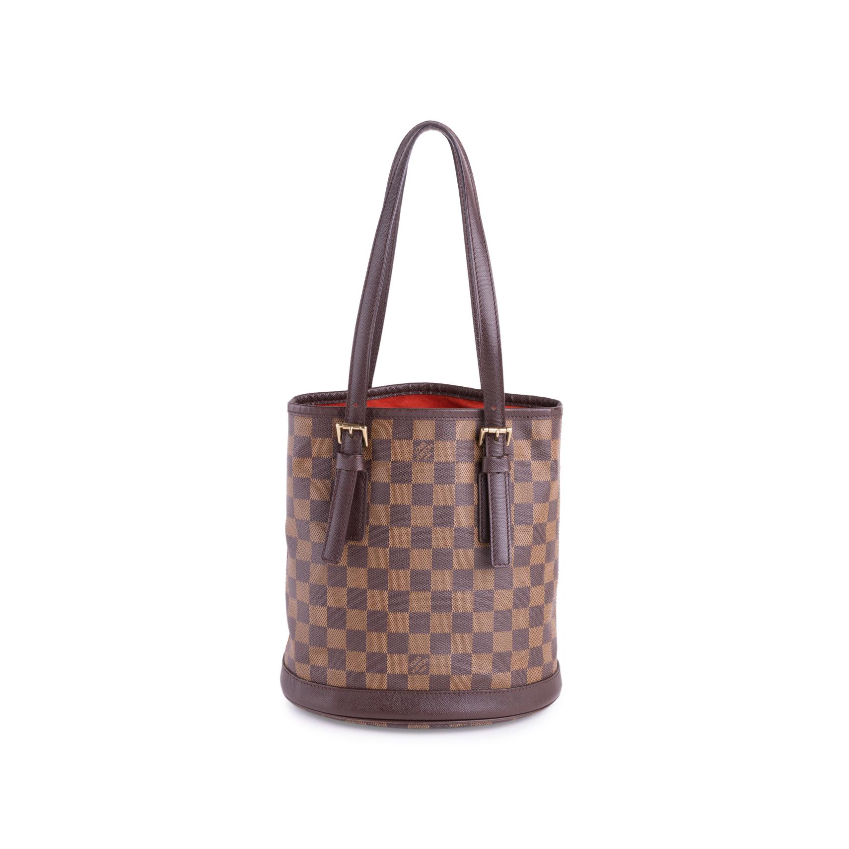 52571757dcaf Authentic Vintage Louis Vuitton Marais Damier Ebene Petit Bucket  (PSS-636-00005)