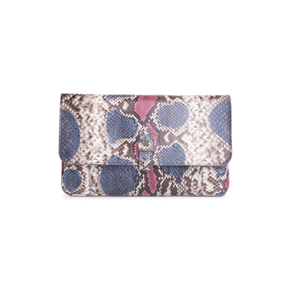 Authentic Second Hand Ling Wu Two Tone Python Clutch (PSS-636-00020)
