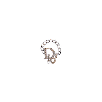 Authentic Second Hand Christian Dior Logo Crystal Ring (PSS-623-00008)
