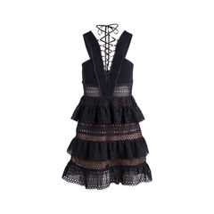 Lace-Up Tiered Dress