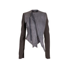 Asymmetrical Leather and Wool Jacket