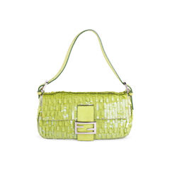 Sequinned Snakeskin Baguette Bag