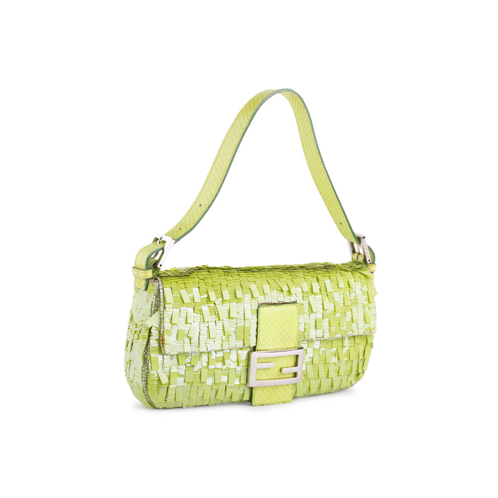 b029b9585afb ... Authentic Second Hand Fendi Sequinned Snakeskin Baguette Bag  (PSS-351-00023) ...