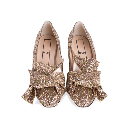 Authentic Second Hand N°21 Glitter Bow Pumps (PSS-351-00026)