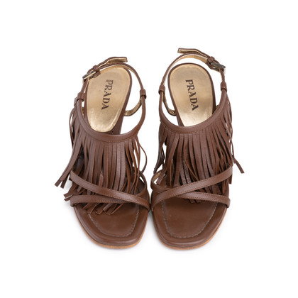 Authentic Second Hand Prada Fringe Leather Sandals (PSS-618-00004)