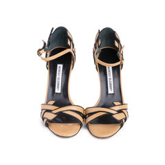 Contrast Trim Leather Sandals
