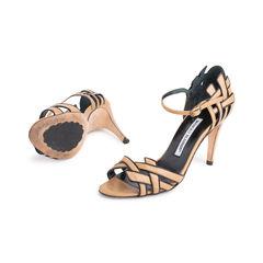 Manolo blahnik contrast trim leather sandals 2?1551759129