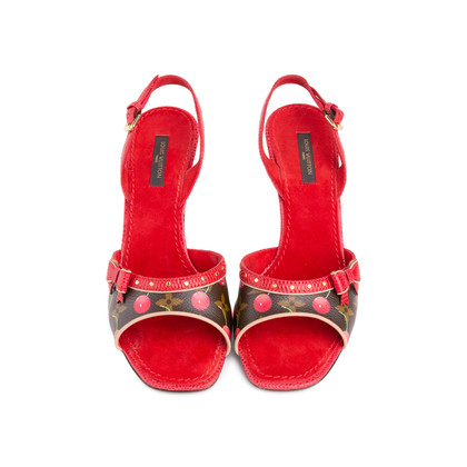 Authentic Second Hand Louis Vuitton Lizard Cherry  Slingback Sandals (PSS-618-00012)