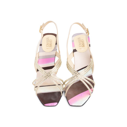 Authentic Second Hand Gianni Versace Satin Crystal Encrusted Slingback Sandals (PSS-618-00016)