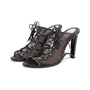 Authentic Second Hand Donna Karan Mesh Lace-up Cut-Out Heel (PSS-618-00019) - Thumbnail 3