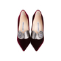 Authentic Second Hand Manolo Blahnik Velvet Pointed Pumps (PSS-618-00010) - Thumbnail 0