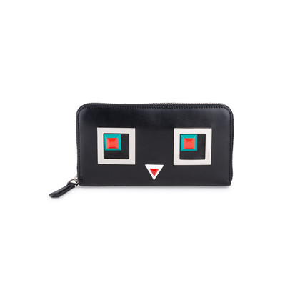 Authentic Pre Owned Fendi Square Eyes Zip Around Wallet (PSS-636-00008)
