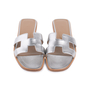 Authentic Second Hand Hermès Metallic Epsom Oran Sandals (PSS-126-00139) - Thumbnail 0