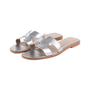 Authentic Second Hand Hermès Metallic Epsom Oran Sandals (PSS-126-00139) - Thumbnail 3