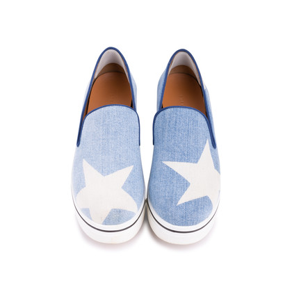 Authentic Pre Owned Stella McCartney Binx Star Denim Platform Slip-On Sneakers (PSS-626-00020)