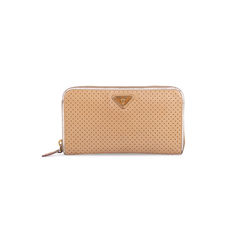 Perforated Saffiano Zip Around Wallet