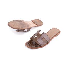 Hermes crocodile oran sandals brown 2?1552969961