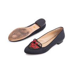 Charlotte olympia ooh la la crochet canvas slippers black 2?1553143078