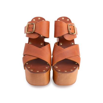 Authentic Second Hand Céline Platform Wooden Sandals (PSS-606-00027)