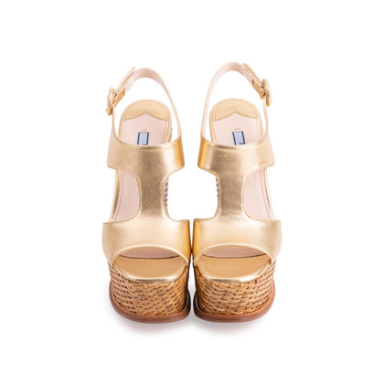 Authentic Second Hand Prada Wicker Wedge Sandals (PSS-606-00029)