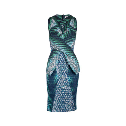 Authentic Second Hand Peter Pilotto Leaf Peplum Dress (PSS-606-00043)