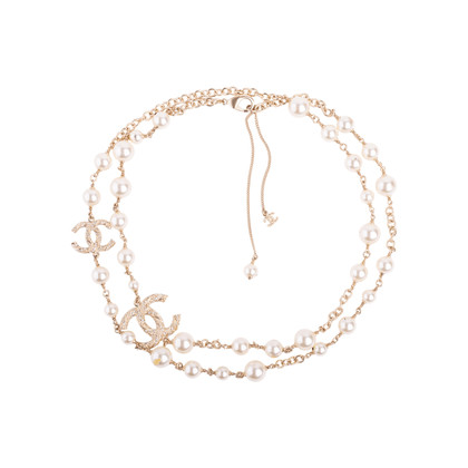 Authentic Second Hand Chanel Faux Pearl and CC Logo Necklace (PSS-037-00015)