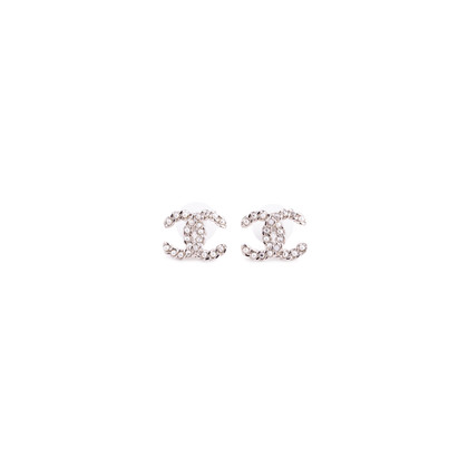 Authentic Second Hand Chanel Chainlink Logo Stud Earrings (PSS-037-00016)