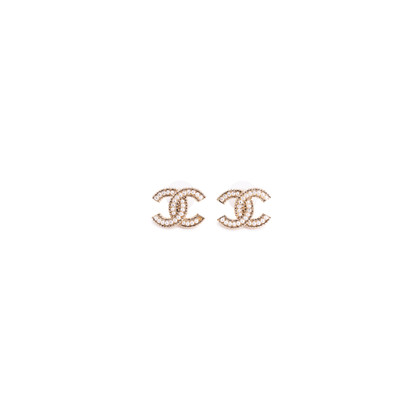 Authentic Second Hand Chanel Faux Pearl Logo Stud Earrings (PSS-037-00017)