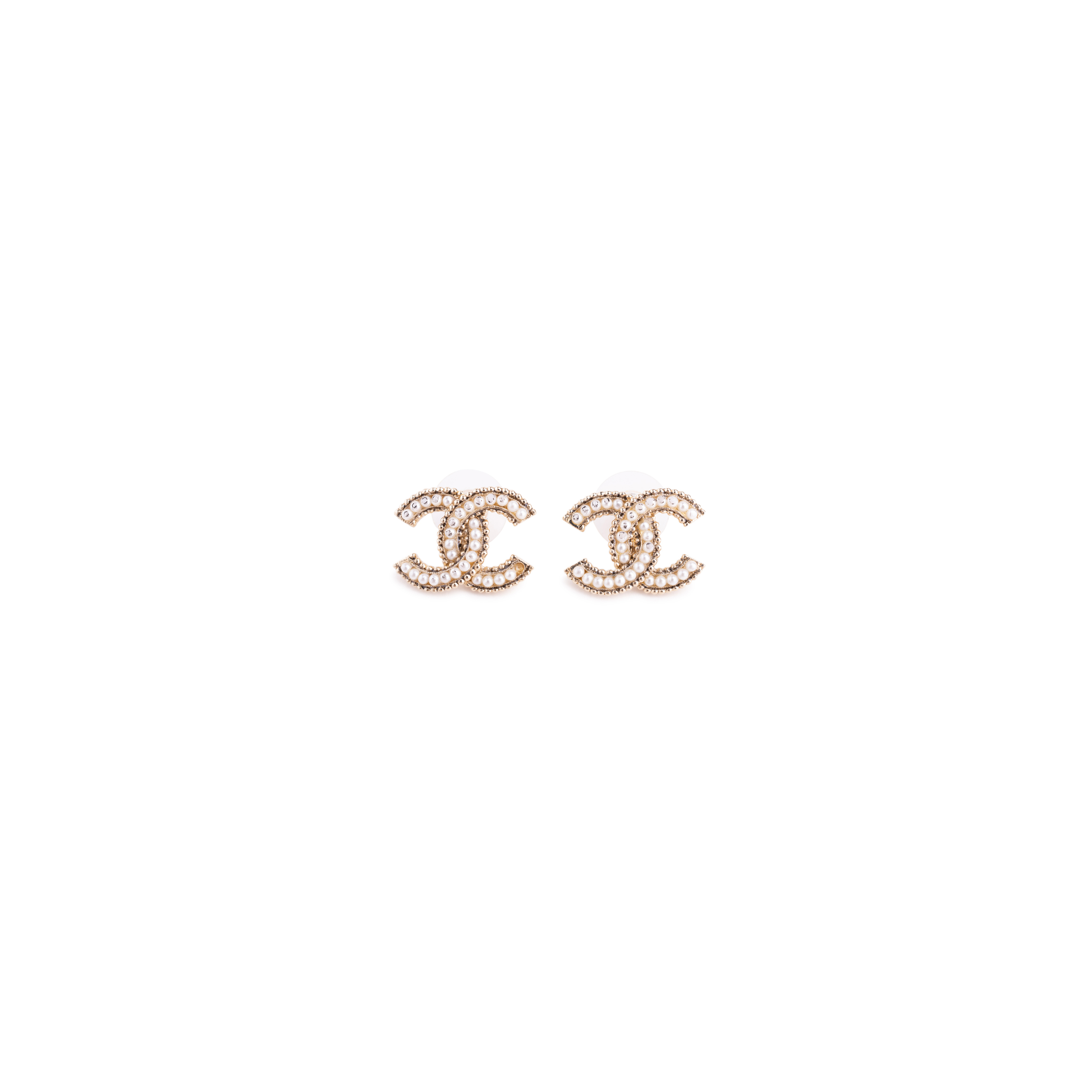 Authentic Second Hand Chanel Faux Pearl Logo Stud Earrings