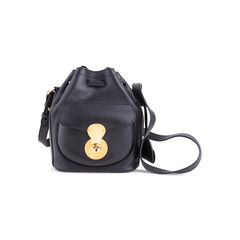 Black Leather Ricky Drawstring Bag
