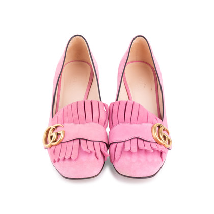 Authentic Second Hand Gucci Pink Marmont 50 Suede Pumps (PSS-117-00013)