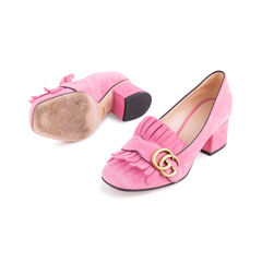 Gucci pink marmont 50 suede pumps 2?1554094787