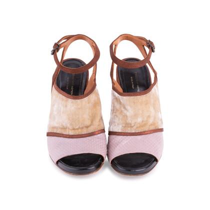 Authentic Second Hand Dries Van Noten Velvet and Glitter Suede Sandals (PSS-117-00016)