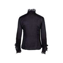 Alexander mcqueen lace trim silk blouse 2?1554192327