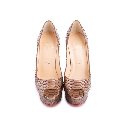 Authentic Second Hand Christian Louboutin Python Amor Lady Peep Pumps (PSS-225-00039)