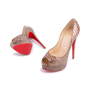 Authentic Second Hand Christian Louboutin Python Amor Lady Peep Pumps (PSS-225-00039) - Thumbnail 1