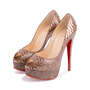 Authentic Second Hand Christian Louboutin Python Amor Lady Peep Pumps (PSS-225-00039) - Thumbnail 3