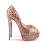 Authentic Second Hand Christian Louboutin Python Amor Lady Peep Pumps (PSS-225-00039) - Thumbnail 4