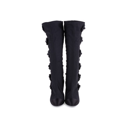 Authentic Second Hand Chanel Camellia Satin Sock Boots (PSS-200-01627)