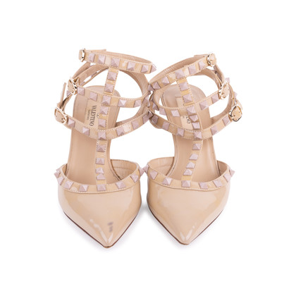 Authentic Second Hand Valentino Nude Rockstud Cage Pumps (PSS-200-01631)