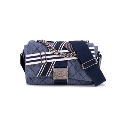 Authentic Second Hand Chanel Chanel Airlines Denim and Toile Flap Bag (PSS-200-01669)