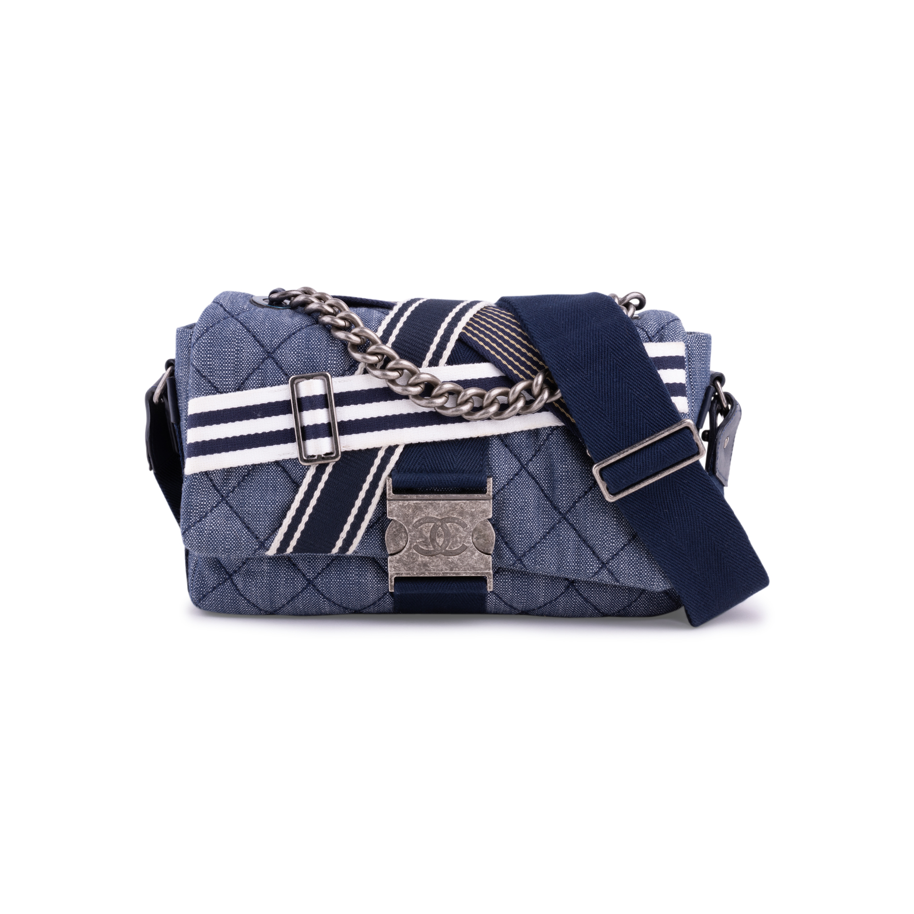 fbcc8b7cb083 Authentic Second Hand Chanel Chanel Airlines Denim and Toile Flap Bag (PSS- 200-01669) | THE FIFTH COLLECTION