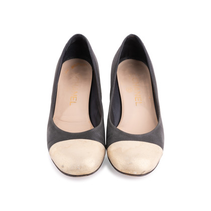 Authentic Second Hand Chanel Gold Cap Toe Pumps (PSS-643-00005)