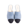 Authentic Second Hand Chanel Cap Toe Denim Mules (PSS-643-00011) - Thumbnail 0